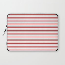 Mattress Ticking Wide Striped Pattern in Red and White Laptop Sleeve
