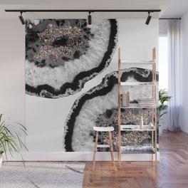 Gray Black White Agate Glitter Glamor #4 #gem #decor #art #society6 Wall Mural