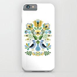 Hungarian Folk Art Birds Blue and Gold iPhone Case