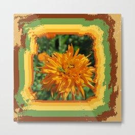 tones green beetle on orange flower with green orange Metal Print