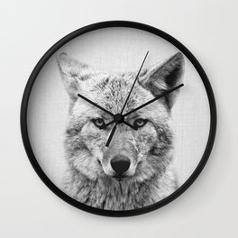 Coyote - Black & White Wall Clock