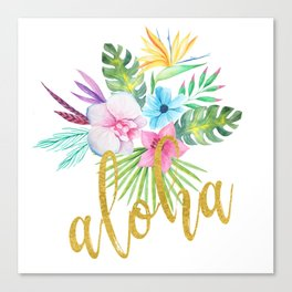 Hawaiian multicolored floral bouquet with faux gold aloha brush script Canvas Print
