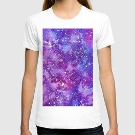 Artistic white paint splatters pink purple watercolor T-shirt