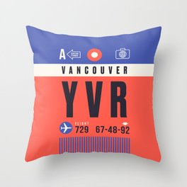 Baggage Tag A - YVR Vancouver Canada Throw Pillow