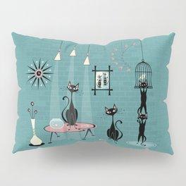 Mid Century Kitty Mischief - ©studioxtine Pillow Sham