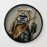 ewok Wall Clocks featuring Ewok by Sam Luotonen