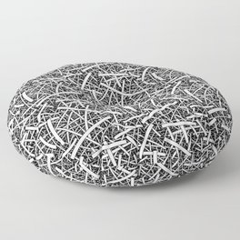 Flittr - abstract organic lineart in black and white Floor Pillow