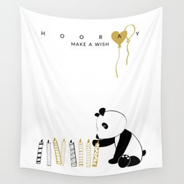 Sweet panda with candles Wall Tapestry