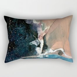 Same Stars [2] - an abstract mixed media piece in blues, pinks, purple,  and black Rectangular Pillow