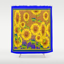 BLUE RUSTIC SUNFLOWERS FIELD ART Shower Curtain