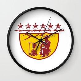 Cowboy Drinking Coffee Campfire Shield Mascot Wall Clock