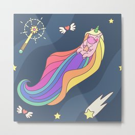 "Vector pattern series of ""Unicorns time"". Art for kids. Metal Print"
