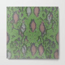Snake skin scales texture. pattern green gray beige camouflage. ornament, fashion print trend of the Metal Print