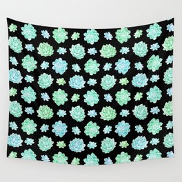 Modern black teal turquoise trendy cactus floral pattern Wall Tapestry