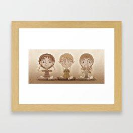 I don't hear, I don't see, I don't speak. Framed Art Print