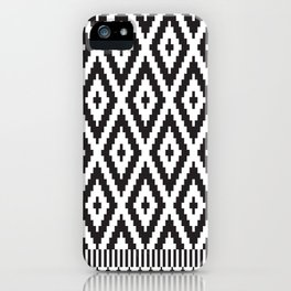 Black and White Geometric Tribal Pattern Print iPhone Case