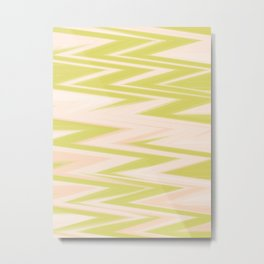 Yellow and Peach Electric Pulse Zigzag Metal Print