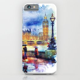 London Rain watercolor iPhone Case