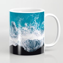 Black sand beach with waves and blue Ocean in Iceland – Minimal Photography Coffee Mug