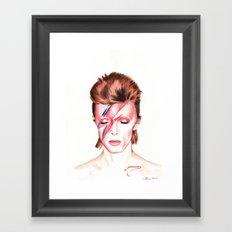 David Bowie. Aladdin Sane. Album Cover. Watercolor painting. Framed Art Print