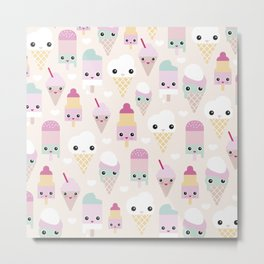 Cute kawaii summer Japanese ice cream cones and popsicle p Metal Print
