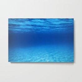 Underwater Blue Ocean, Sandy sea bottom Underwater background Metal Print