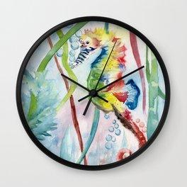 Colorful Seahorse Wall Clock