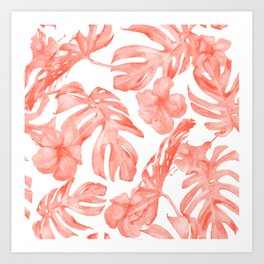 Tropical Hibiscus and Palm Leaves Dark Coral White Art Print