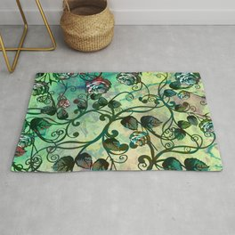 Pastel and Green Rosevine Rug
