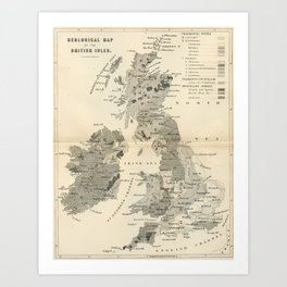 Vintage and Retro Geological Map British Isles Art Print