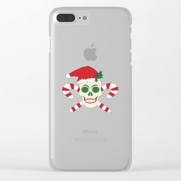 Creepy Christmas Santa Skull Clear iPhone Case