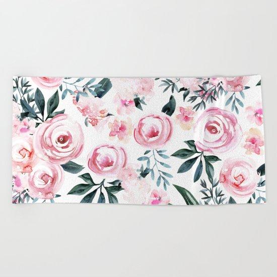 Floral Rose Watercolor Flower Pattern Beach Towel