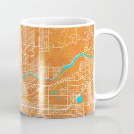 Spokane, WA, USA, Gold, Blue, City, Map Coffee Mug