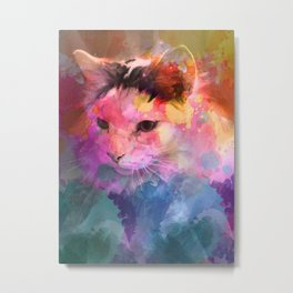 Kitty Splashcolor Metal Print