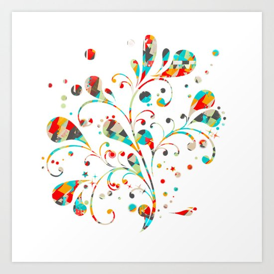 motif floral color 4 Art Print