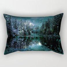 Winter Wonderland Forest Green Teal : A Cold Winter's Night Rectangular Pillow