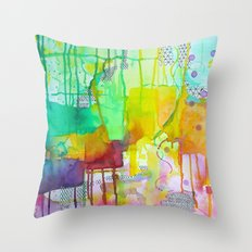 Rainbow Drip Throw Pillow