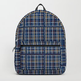 Navy Blue Criss Cross Weave Hand Drawn Vector Pattern Background Backpack