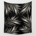 White Gold Palm Leaves on Black by followmeinstead
