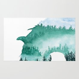 Horse Forest Nymph Double Exposure Rug