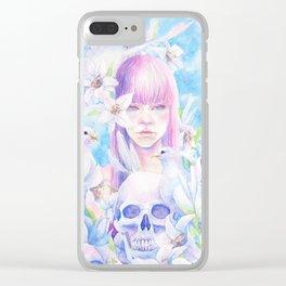 Angel or Devil - Dove, Lily, Skull Clear iPhone Case