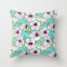 Pink & White Tropical Hibiscus Floral Pattern Throw Pillow