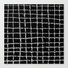 Black and white grid abstract minimal gridded pattern gifts basic nursery home decor Canvas Print