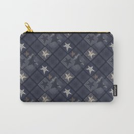 Gray blue patchwork Carry-All Pouch