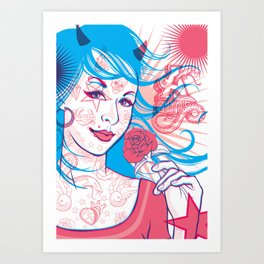 Pink & Blue Tattoo Art Print