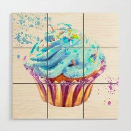 Cupcake watercolor illustration Wood Wall Art