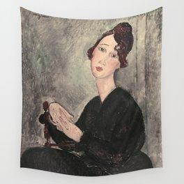 Portrait of Dedie Hayde by Amedeo Modigliani Wall Tapestry