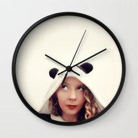 onesie Wall Clocks featuring Panda Onesie Nomi by Naomi Shingler