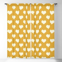 Yellow Love Hearts Blackout Curtain
