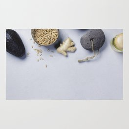 Natural SPA concept on grey concrete background Rug
